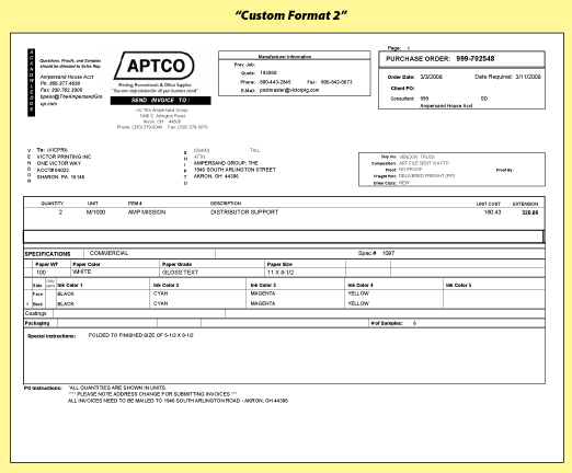 The Ampersand Group  Purchase Order Sample Format